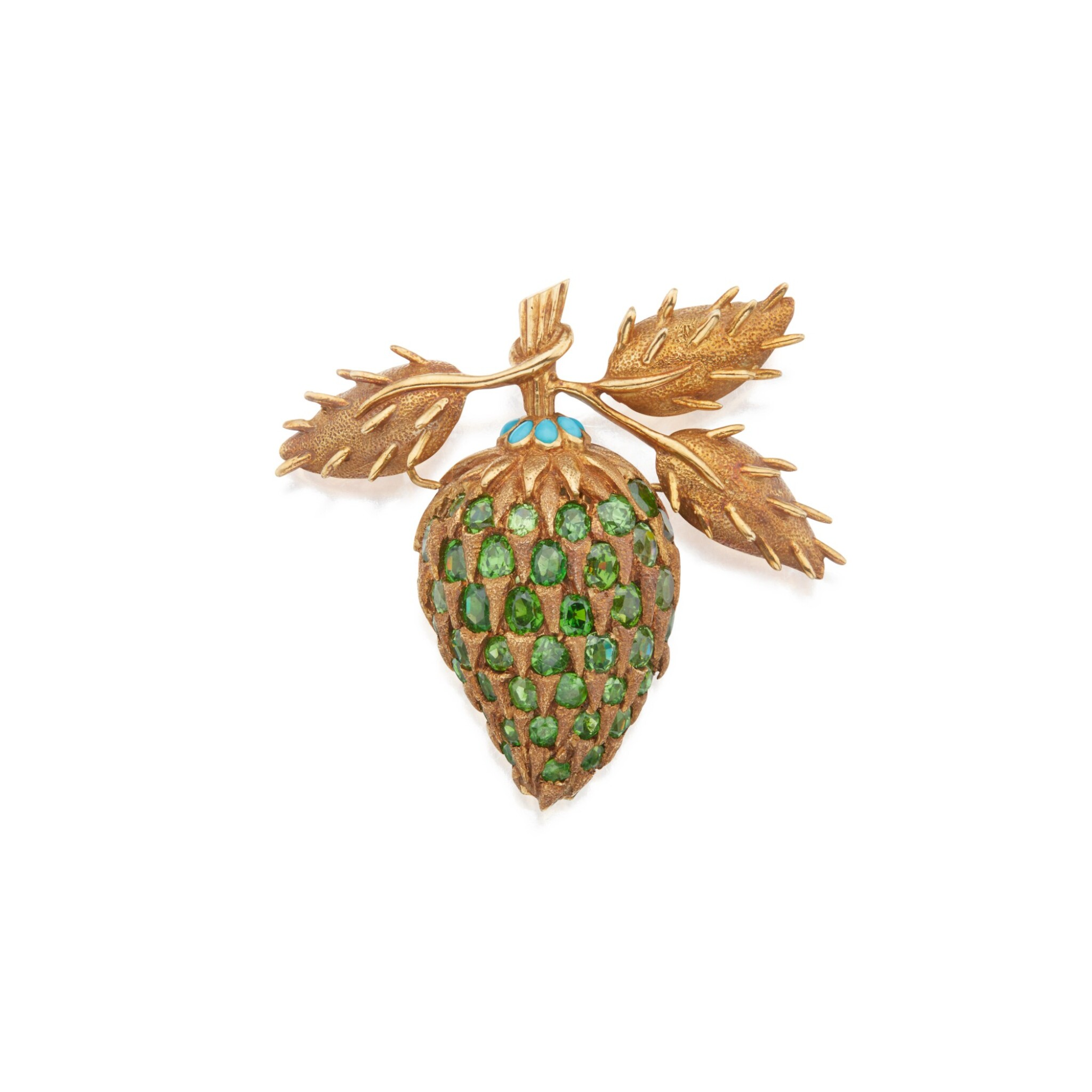 View full screen - View 1 of Lot 482. Schlumberger for Tiffany & Co. | Gold, Demantoid Garnet and Turquoise Clip-Brooch.