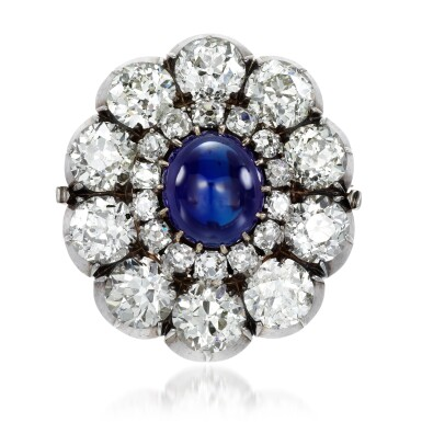 View 1. Thumbnail of Lot 156. From the Collection of Her Royal Highness The Princess Margaret, Countess of Snowdon: Sapphire and diamond brooch, 1890s.