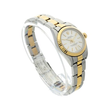 View 3. Thumbnail of Lot 82. REFERENCE 76193 OYSTER PERPETUAL A STAINLESS STEEL AND YELLOW GOLD AUTOMATIC WRISTWATCH WITH BRACELET, CIRCA 2001.