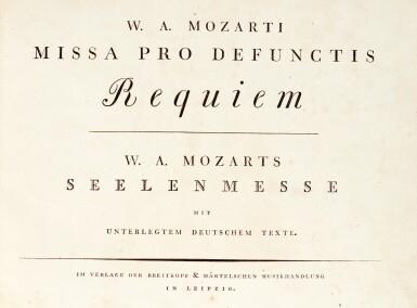 View 2. Thumbnail of Lot 61. W.A. Mozart, Missa Pro Defunctis Requiem...[first edition, full score], Leipzig: Breitkopf & Härtel, [1800].