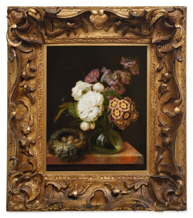 View 3. Thumbnail of Lot 133. GEORGES FRÉDÉRIC ZIESEL  |  BOUQUET OF FLOWERS IN A VASE AND A BIRD'S NEST ON A MARBLE TABLE.