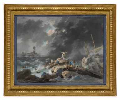 View 5. Thumbnail of Lot 607. A shipwreck on a rocky coast during a storm; A shipwreck on a coast during a storm, a lighthouse beyond.