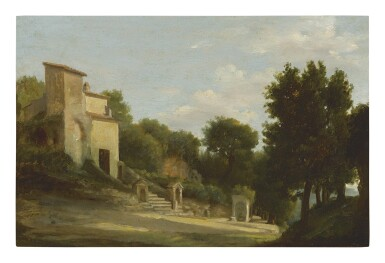 AUGUSTE JEAN-BAPTISTE VINCHON | THE RUINS OF DOMITIAN'S VILLA AT CASTEL GANDOLFO WITH THE CHAPEL OF THE VIRGIN MARY