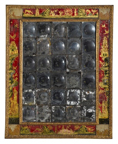 View 2. Thumbnail of Lot 57. A Régence verre eglomisé and pietra paesina mounted giltwood mirror, early 18th century.