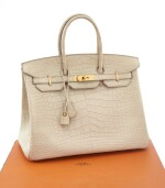 Matte beton alligator and palladium hardware handbag, Birkin 35, Hermès, 2014