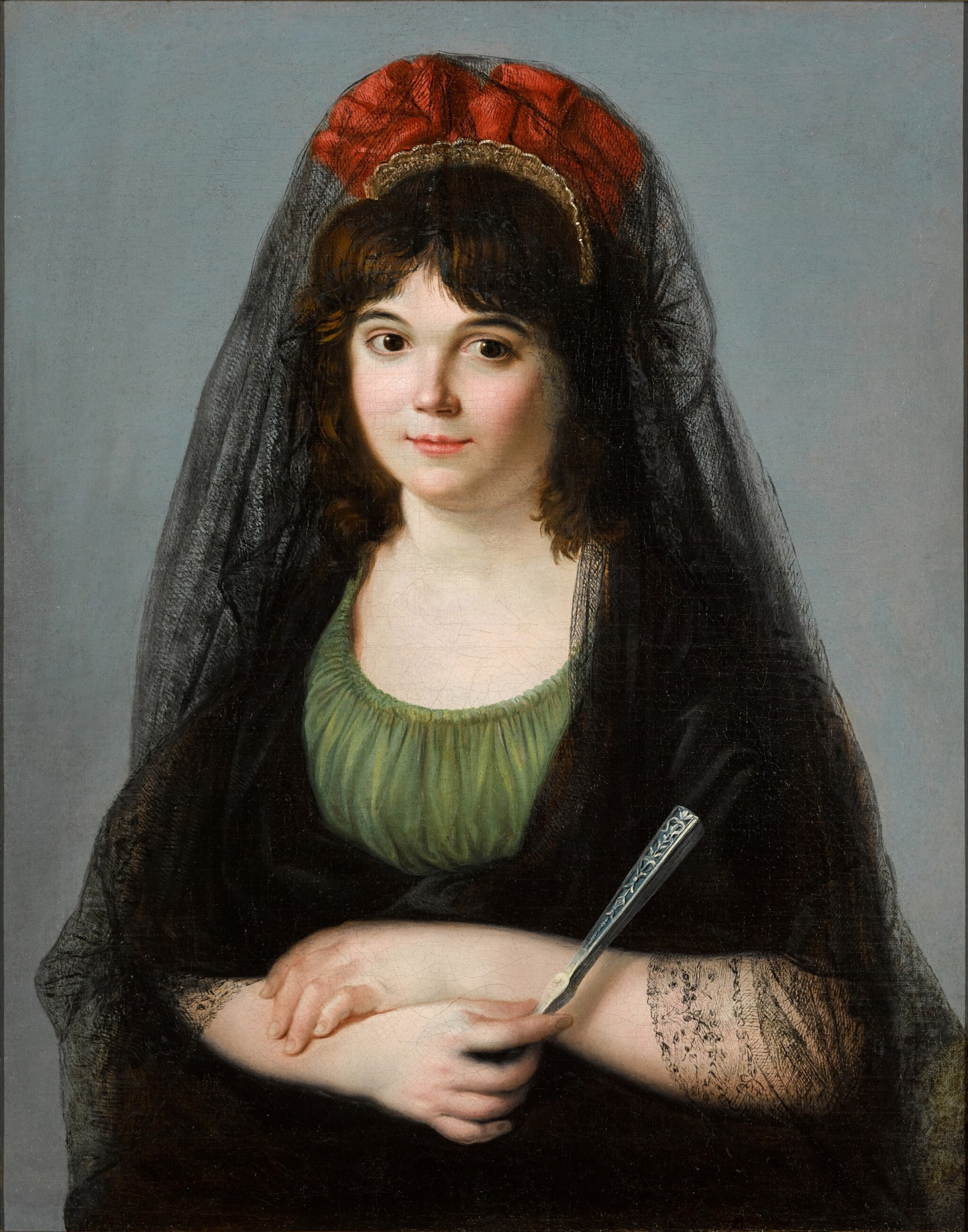 View full screen - View 1 of Lot 15. ZACARÍAS GONZÁLEZ VELÁZQUEZ  |  PORTRAIT OF A YOUNG WOMAN, HALF-LENGTH, HOLDING A FAN.