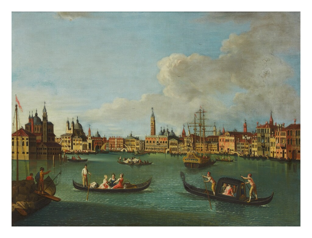 VENETIAN SCHOOL, 19TH CENTURY   VENICE, A VIEW OF THE ENTRANCE TO THE GRAND CANAL