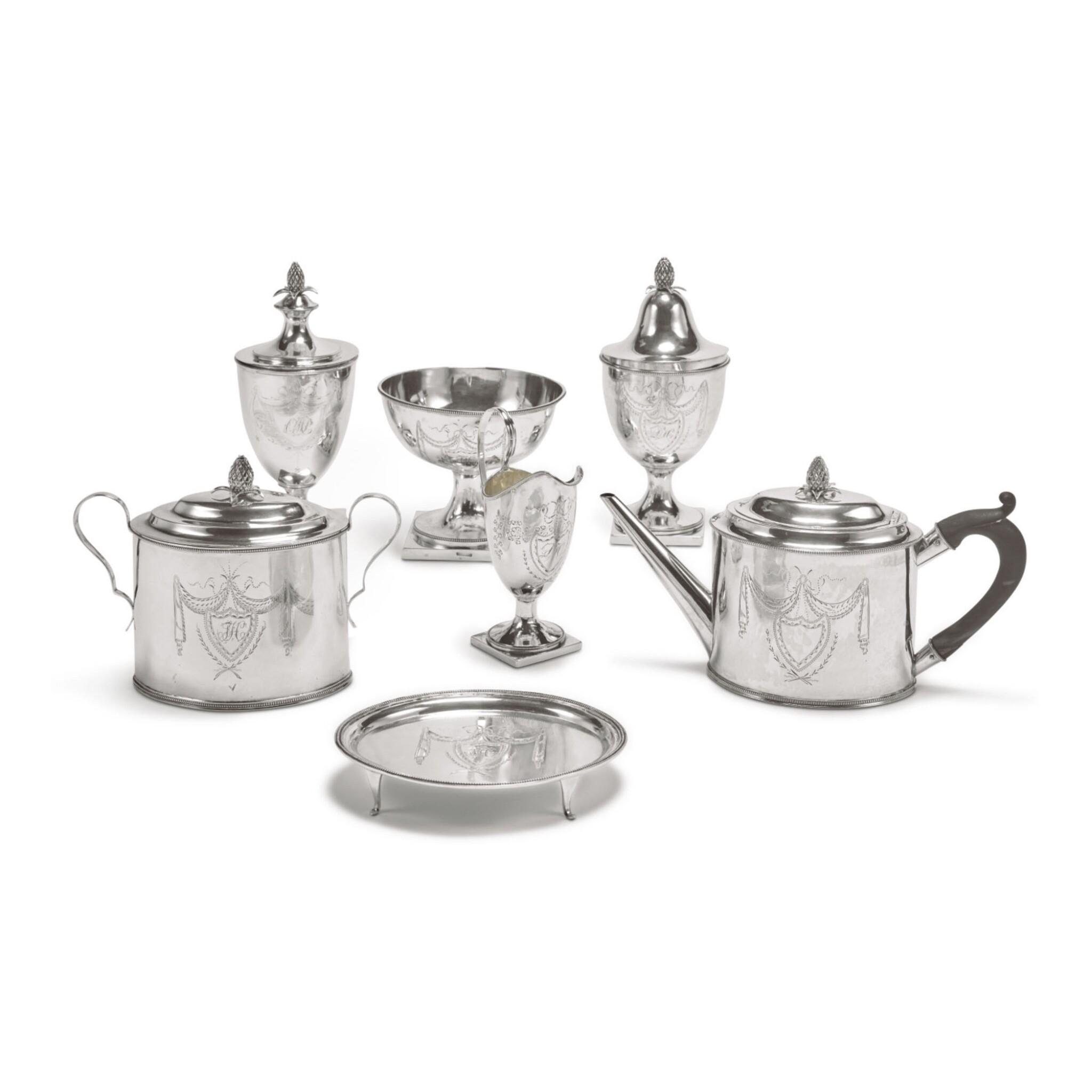 View full screen - View 1 of Lot 1803. AN AMERICAN SILVER SIX-PIECE TEA SET, VAN VOORHIS & SCHANCK, NEW YORK, CIRCA 1790-1800.