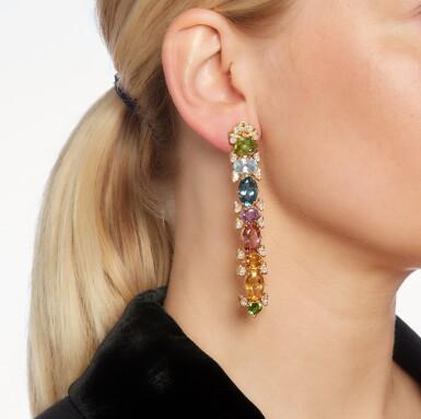 View 4. Thumbnail of Lot 102. Marina B | Pair of gem set and diamond earclips.