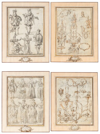 View 1. Thumbnail of Lot 25. A pair of double sided drawings: Costume designs (recto); Arabesques designs (verso).