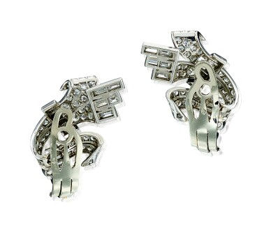 View 3. Thumbnail of Lot 9117. PAIR OF DIAMOND EAR CLIPS | 鑽石耳環一對.