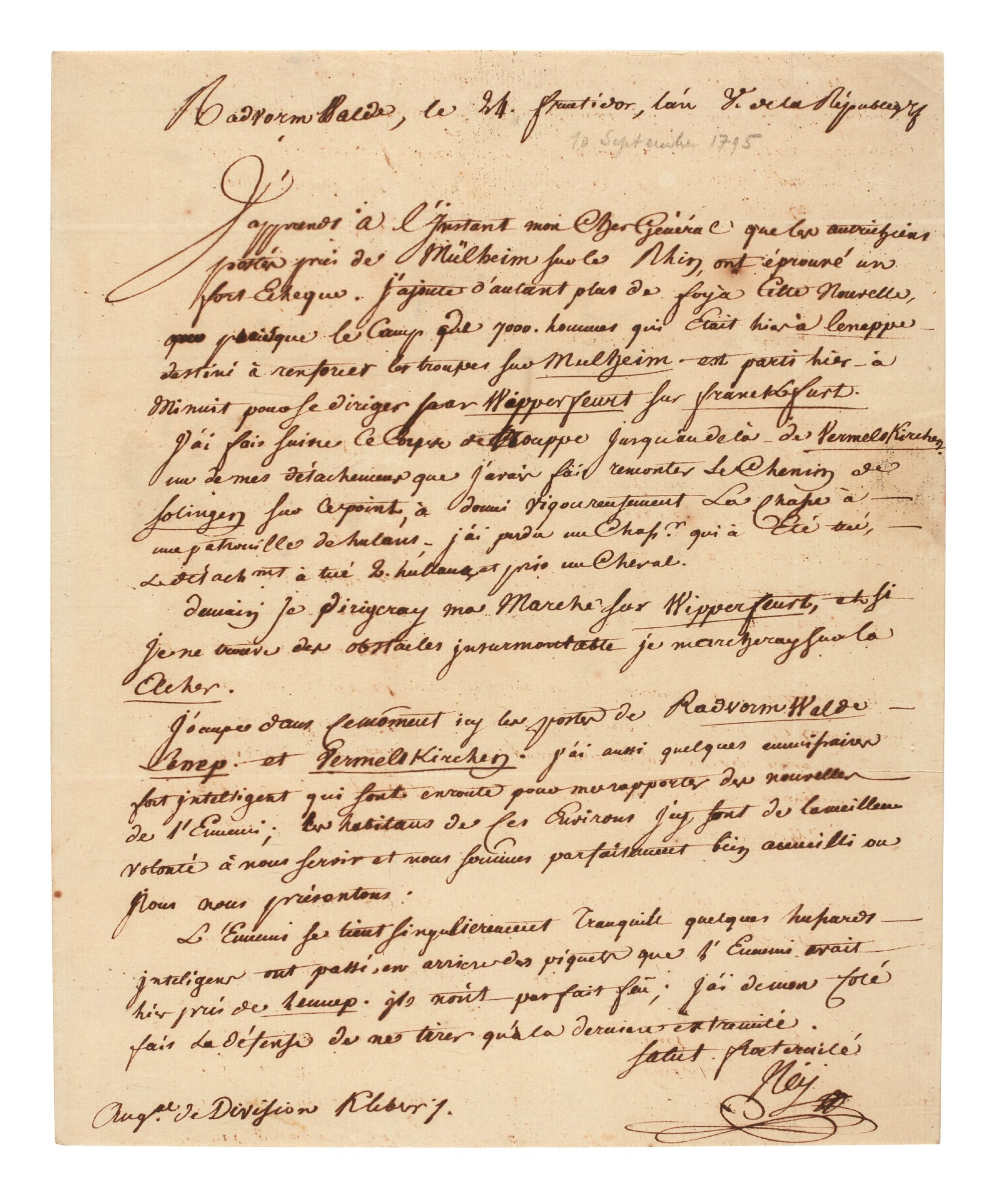 View full screen - View 1 of Lot 99. NEY   letter signed, to General Kléber, 1797.