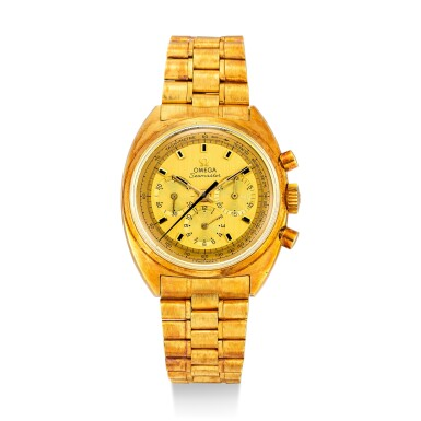 View 1. Thumbnail of Lot 110. OMEGA | SEAMASTER, REFERENCE 145.006 A YELLOW GOLD CHRONOGRAPH WRISTWATCH WITH BRACELET, CIRCA 1970.