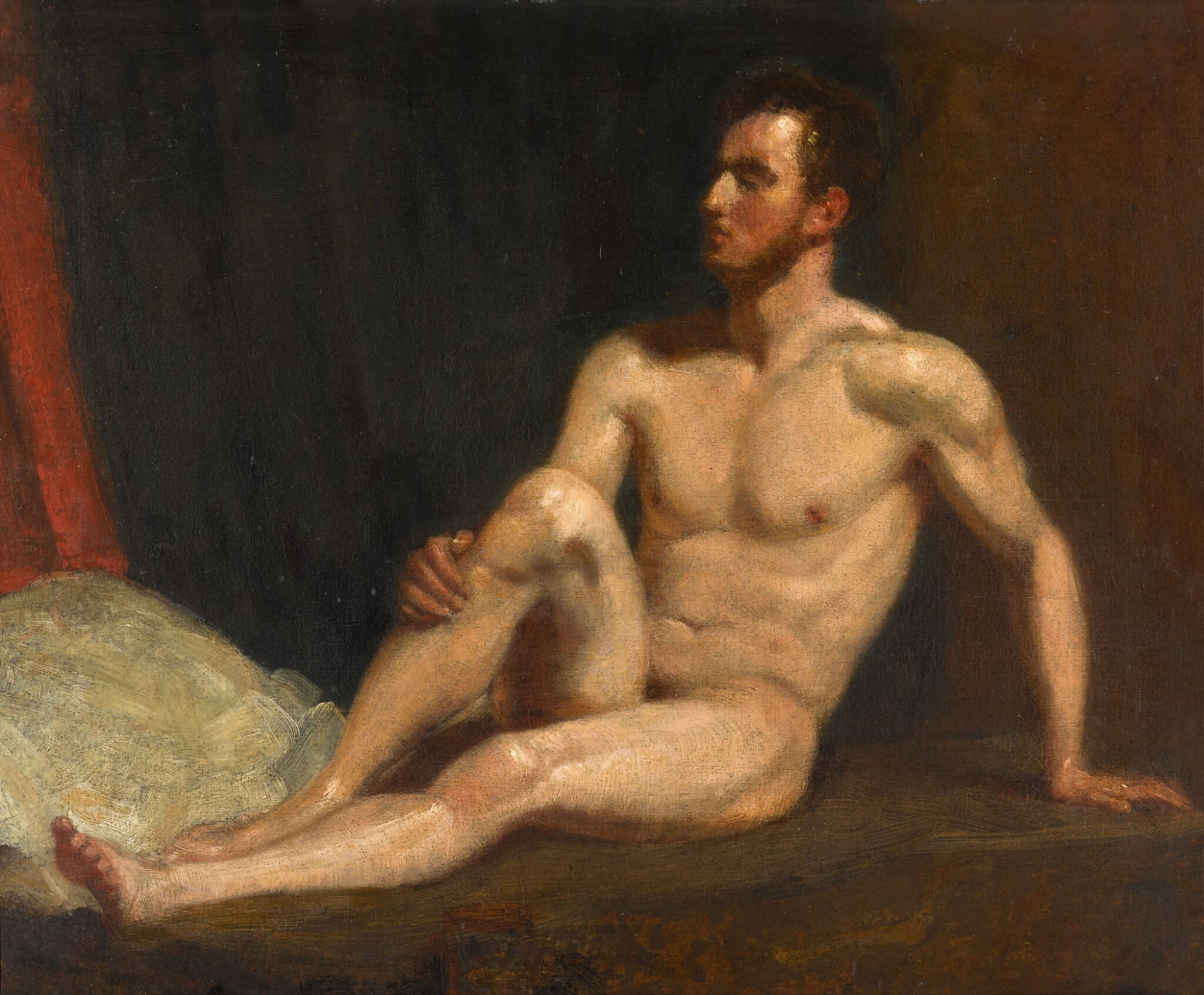 View full screen - View 1 of Lot 115. Male nude seated on a bed.