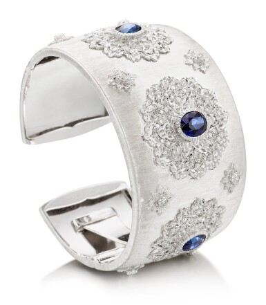 View 2. Thumbnail of Lot 1602. MARIO BUCCELLATI   SAPPHIRE AND DIAMOND CUFF-BRACELET   馬里奧 布契拉提   藍寶石 配 鑽石 手鐲.