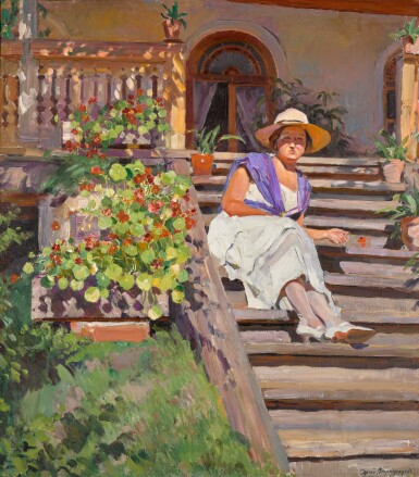 View 1. Thumbnail of Lot 39. Woman Seated on Steps.