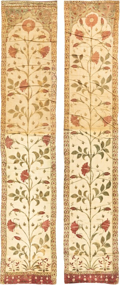 A PAIR OF PAINTED COTTON TENT PANELS (QANAT), NORTH INDIA, 17TH CENTURY