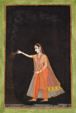 A LADY PLAYING WITH FIREWORKS, INDIA, RAJASTHAN, LATE 18TH CENTURY