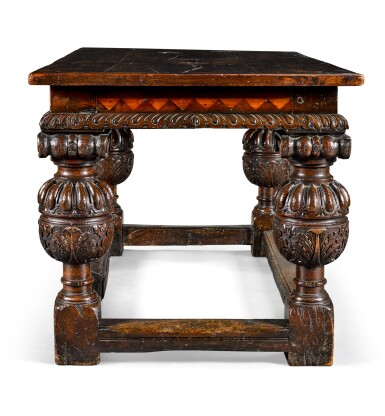 View 2. Thumbnail of Lot 22. An Elizabethan style oak centre table, 19th century incorporating earlier elements.