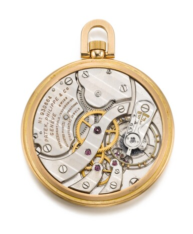 View 8. Thumbnail of Lot 126. PATEK PHILIPPE & CO., GENÈVE [百達翡麗,日內瓦] | AN EXTREMELY FINE AND RARE PINK GOLD OPEN-FACED KEYLESS LEVER WORLD TIME WATCH WITH CLOISONNÉ ENAMEL MAP OF NORTH AMERICA 1948, REF. 605 HU, MOVEMENT NO. 930.864, CASE NO. 654.949 [605HU型號極罕有粉紅金世界時間懷錶飾掐絲琺瑯彩繪北美洲地圖,1948年製,機芯編號930.864,錶殼編號654.949].