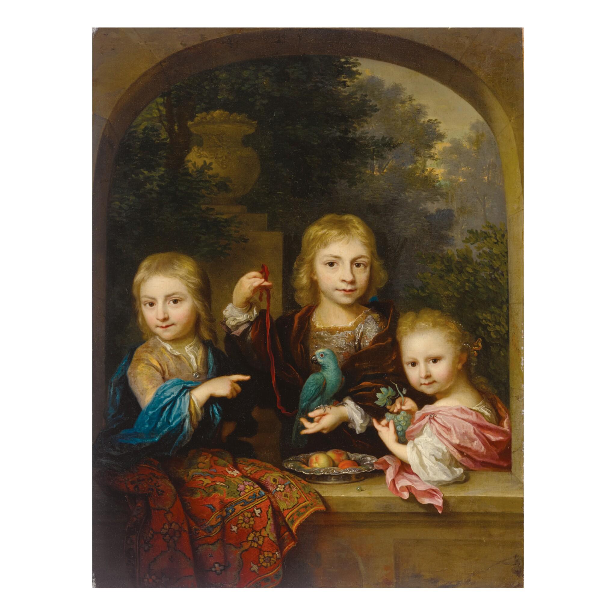 View full screen - View 1 of Lot 50. ARNOLD BOONEN | PORTRAIT OF THE GEELVINCK CHILDREN: NICOLAAS (1706-1764), CORNELIS (1705 - ?) AND CATHARINA JACOBA GEELVINCK (1710-1759).