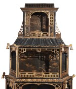 A PAIR OF GEORGE II STYLE BLACK AND GOLD JAPANNED AND CHINESE LACQUER DISPLAY CABINETS, LATE 19TH/EARLY 20TH CENTURY, INCORPORATING EARLIER CHINESE LACQUER PANELS