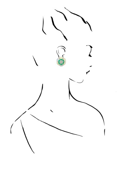 View 4. Thumbnail of Lot 14. MICHELE DELLA VALLE   PAIR OF EMERALD, OPAL AND DIAMOND EAR CLIPS.