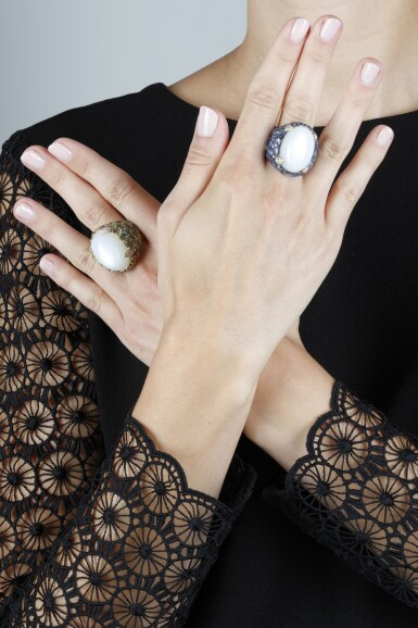 View 4. Thumbnail of Lot 151. PAIR OF MOONSTONE AND SAPPHIRE RINGS.