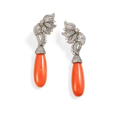Pair of coral and diamond earrings [Paire de boucles d'oreille corail et diamants]