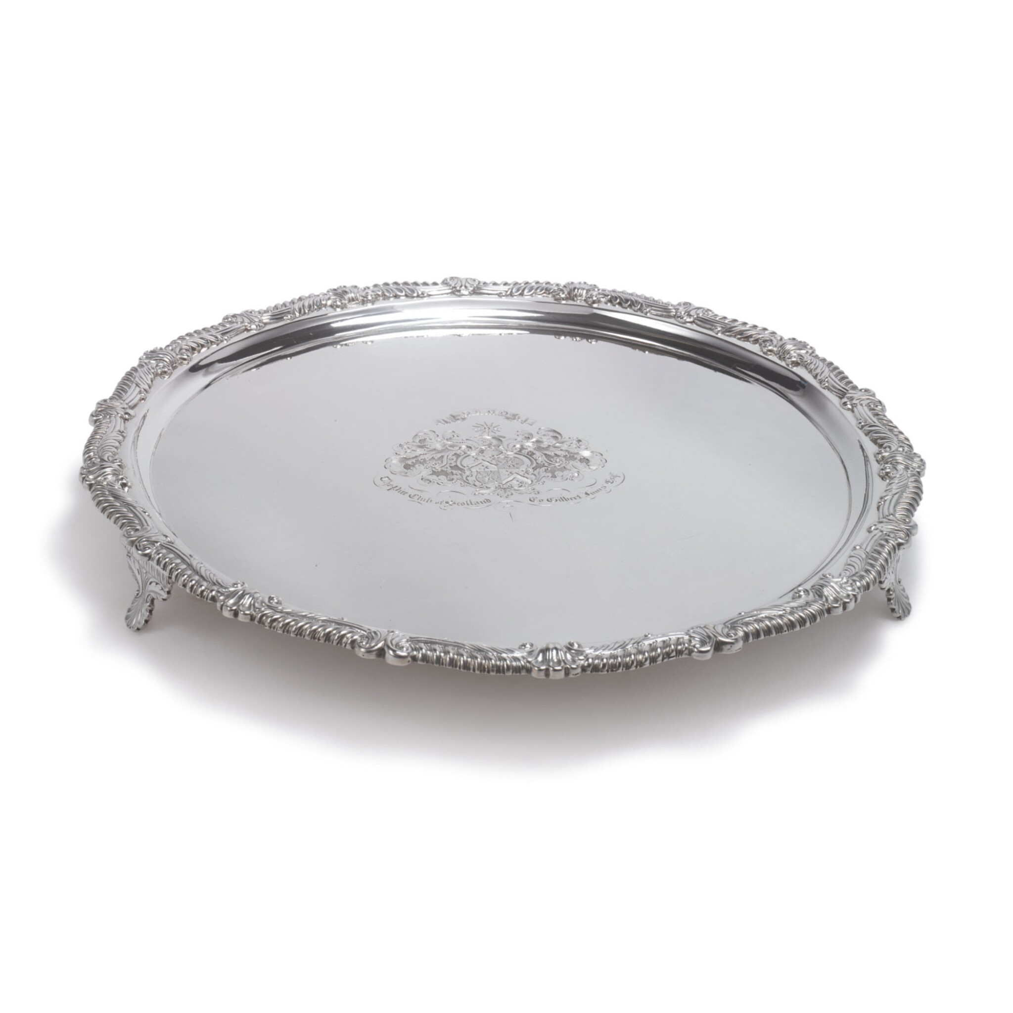 View full screen - View 1 of Lot 635. A SCOTTISH SILVER SALVER, GEORGE FENWICK, EDINBURGH, 1814.