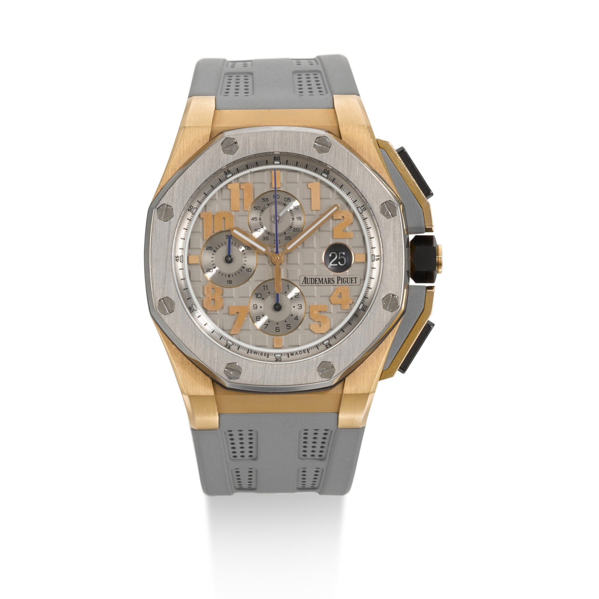View full screen - View 1 of Lot 325. AUDEMARS PIGUET | ROYAL OAK OFFSHORE LEBRON JAMES, REFERENCE 26210OI.00.A109CR.01, LIMITED EDITION PINK GOLD AND TITANIUM CHRONOGRAPH WRISTWATCH WITH DATE, NUMBER 483/600 CIRCA 2013.