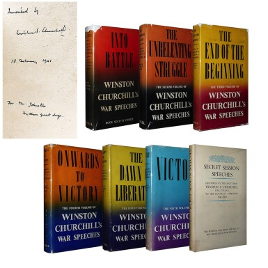 View 2. Thumbnail of Lot 55. Winston S. Churchill | The War Speeches. London: Cassell and Co., 1941-1946.