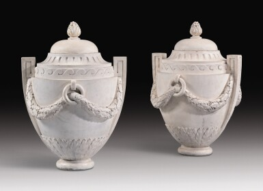 """A PAIR OF LOUIS XV """"GOÛT GREC"""" CARVED WHITE MARBLE VASES CIRCA 1760, IN THE MANNER OF JOSEPH-MARIE VIEN"""