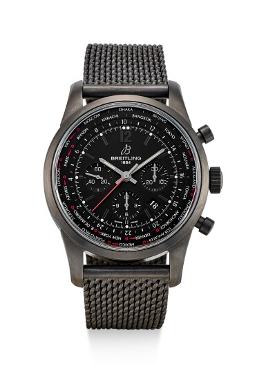 BREITLING | TRANSOCEAN UNITIME PILOT, REFERENCE MB0510, A LIMITED EDITION PVD COATED STAINLESS STEEL CHRONOGRAPH WORLDTIME WRISTWATCH WITH DATE AND BRACELET, CIRCA 2014