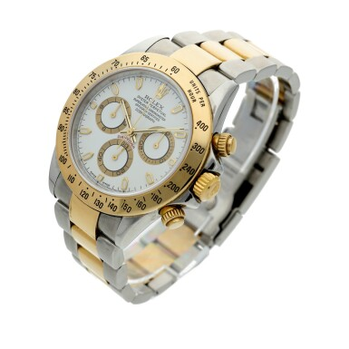 View 2. Thumbnail of Lot 11. Reference 116523 Daytona A stainless steel and yellow gold automatic chronograph wristwatch with bracelet, Circa 2002 .