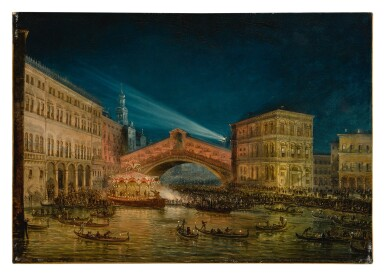 View 1. Thumbnail of Lot 668. Night-time view of the Rialto on the Feast of the Redentore.