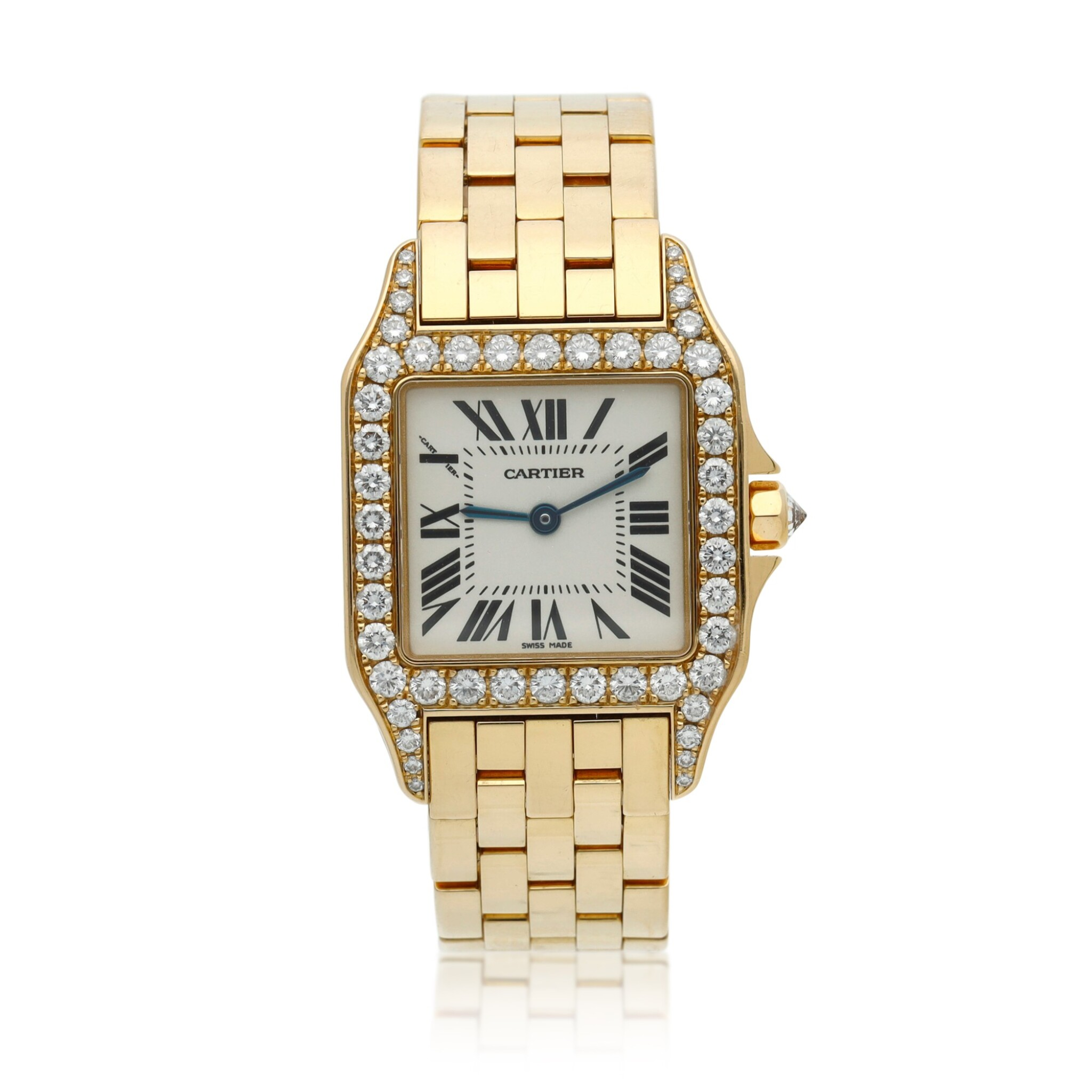View full screen - View 1 of Lot 22. Reference 2702 Santos Demoiselle   A yellow gold and diamond-set square shaped wristwatch with bracelet, Circa 2000 .
