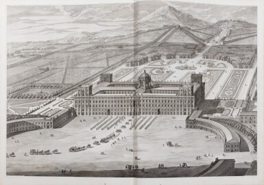 View 1. Thumbnail of Lot 65. Dichiarazione dei Disegni del reale Palazzo di Caserta. Naples, 1756. In-folio. Reliure de l'époque..