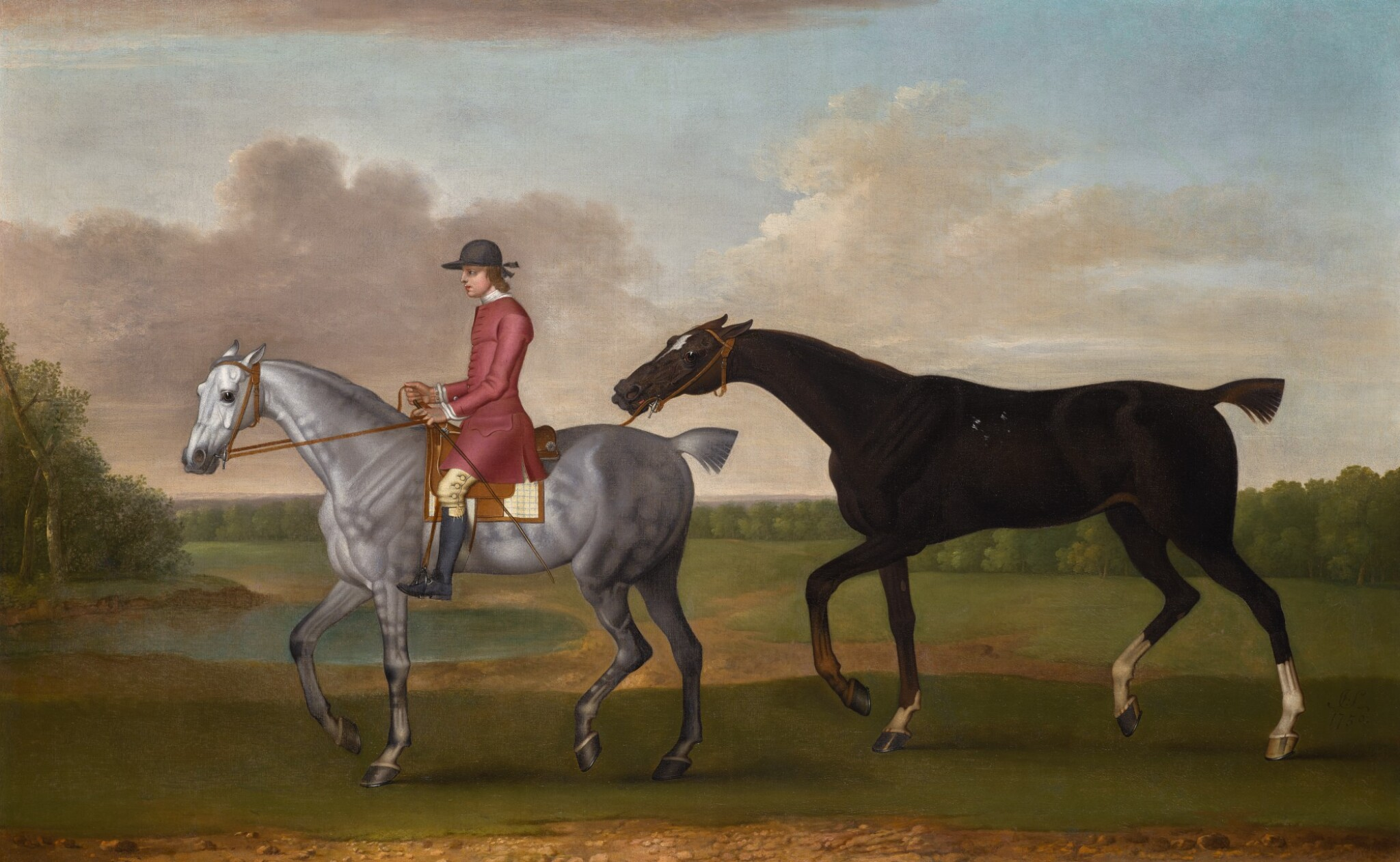 View full screen - View 1 of Lot 161. JAMES SEYMOUR   The Duke of Kingston's liver chestnut racehorse 'Jolly Roger' led by a groom.