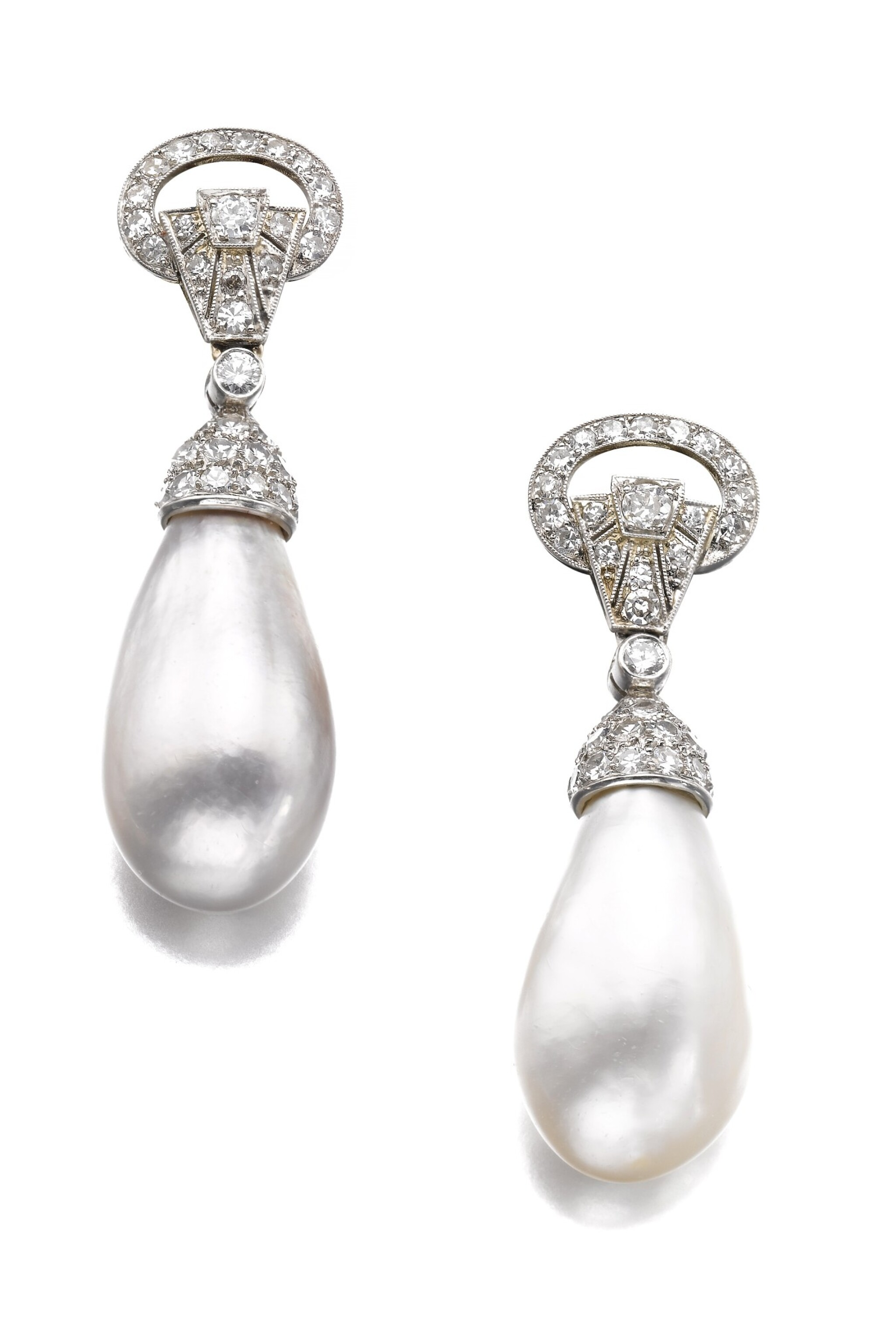 View full screen - View 1 of Lot 603. Bulgari | Pair of natural, cultured pearl and diamond ear clips | 寶格麗 | 天然珍珠、養殖珍珠配鑽石耳環一對.