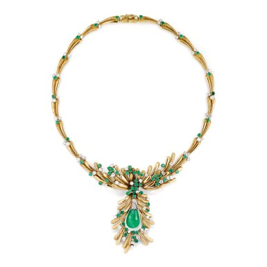 COLLIER EMERAUDES ET DIAMANTS, MELLERIO, 1977 | EMERALD AND DIAMOND NECKLACE, MELLERIO, 1977