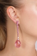 Pair of ruby, rose quartz and diamond pendent earrings, Michele della Valle