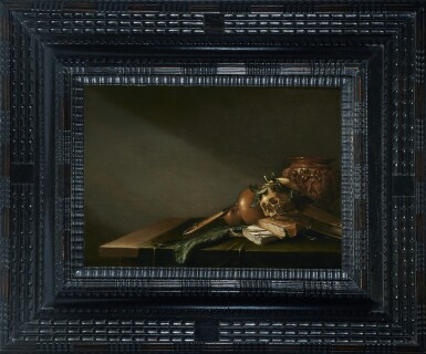 View 2. Thumbnail of Lot 222. ATTRIBUTED TO D. WITTING | VANITAS STILL LIFE WITH A SKULL, BOOKS, STRING INSTRUMENT AND PEACOCK FEATHER ON A TABLE.