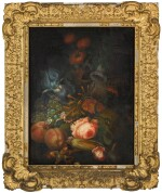 DUTCH SCHOOL, MID-19TH CENTURY | A still life of flowers, insects and fruit, including peaches, a blue iris, a melon and nuts on a stone ledge