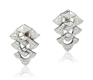 View 1. Thumbnail of Lot 9113. PAIR OF DIAMOND PENDENT EARRINGS, BULGARI | 鑽石吊耳環一對, 寶格麗 ( Bulgari ).