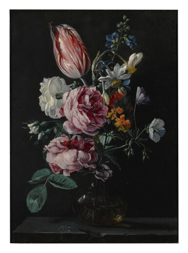 View 1. Thumbnail of Lot 144. ANTWERP SCHOOL, CIRCA 1650'S | A BOUQUET OF NARCISSUS, PARROT TULIP, ROSES AND OTHER FLOWERS IN A GLASS VASE ON A STONE PLINTH.