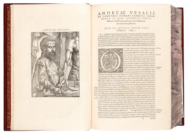 View 1. Thumbnail of Lot 55. Vesalius | De humani corporis fabrica, Basel, 1555, modern crushed burgundy morocco.