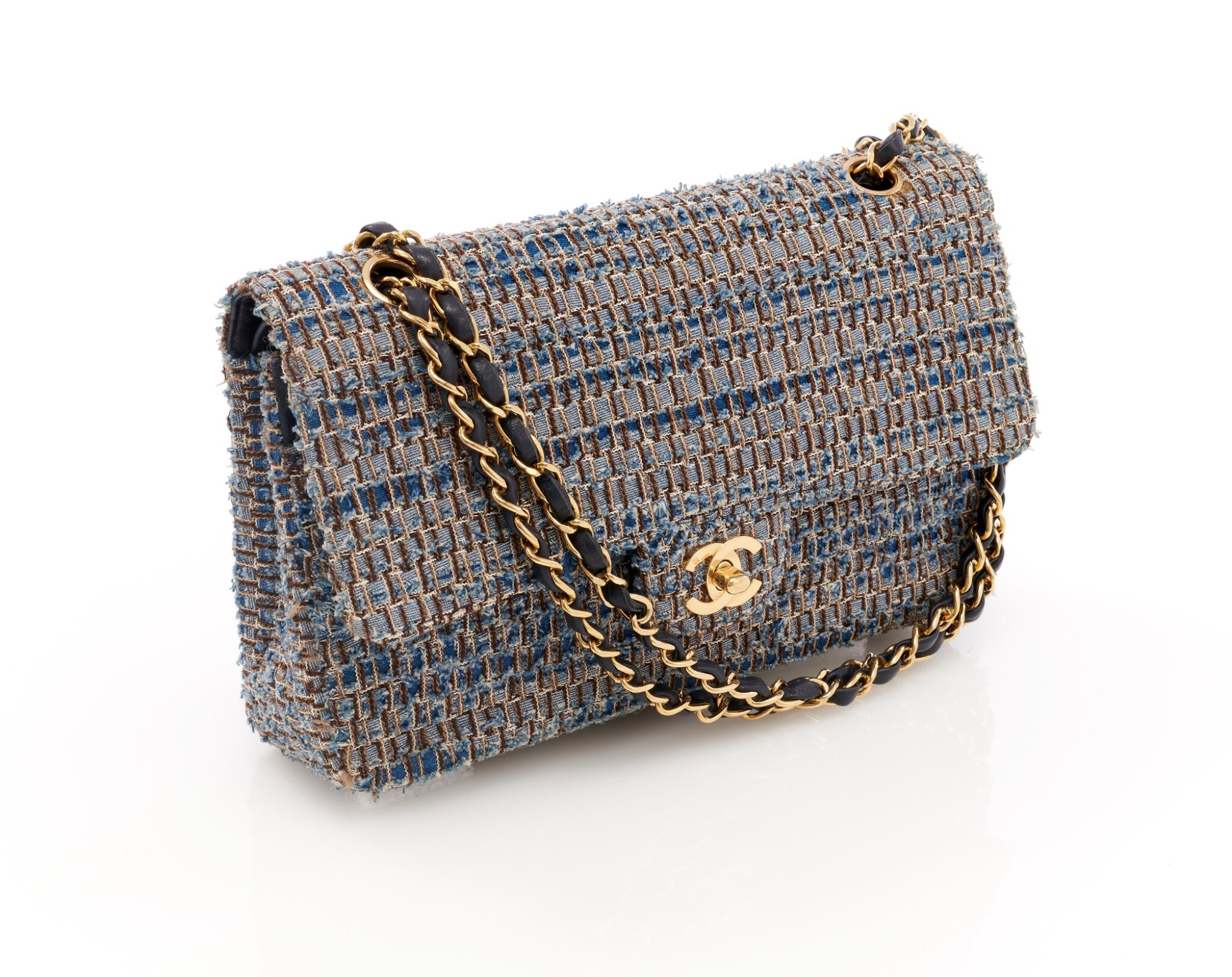 View full screen - View 1 of Lot 110. Denim and wool tweed with silver-tone metal classic shoulder bag.