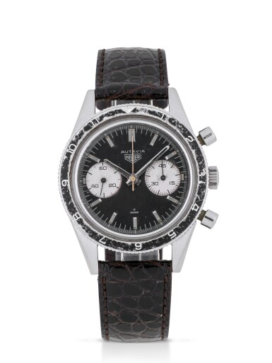 HEUER   'MARIO ANDRETTI' AUTAVIA, REF 3646  STAINLESS STEEL CHRONOGRAPH WRISTWATCH MADE FOR THE ARGENTINIAN AIR FORCE CIRCA 1965