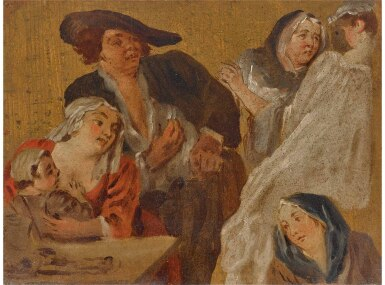 View 1. Thumbnail of Lot 13. FRENCH SCHOOL, 18TH CENTURY | STUDIES OF FIGURES AROUND A TABLE, INCLUDING A MOTHER AND HER CHILD.